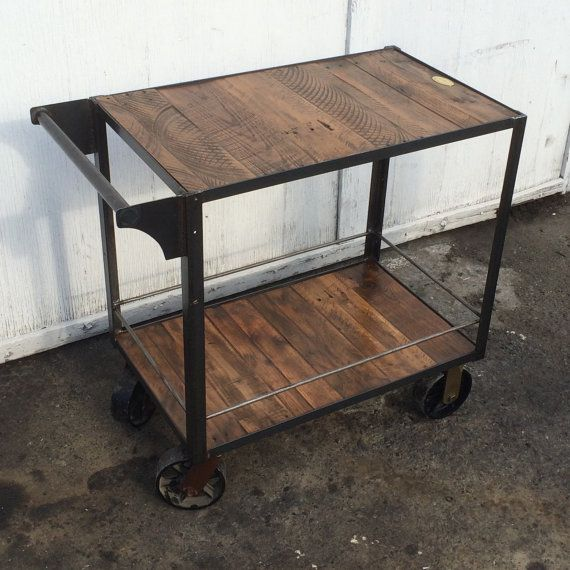 Bar Cart from Reclaimed Wood with Industrial Cast Iron Casters