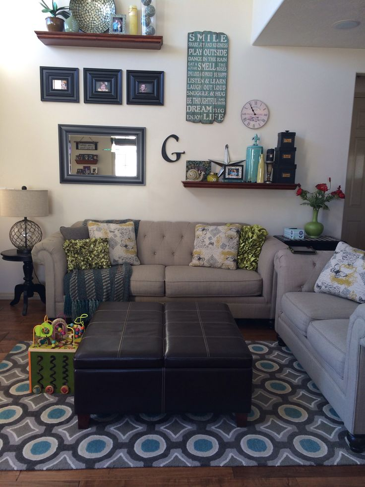 pier 1 living room rugs%0A My updated great room  Ashley sofas and lamp  Target mirror and frames  Pier    throw  green pillows and sign