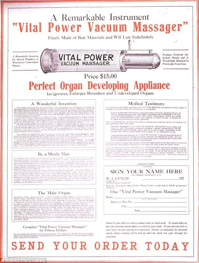 This tubular device claimed to cure erectile dysfunction in the 1900s. The Vital Power massager created a vacuum via a crank that supposedly...