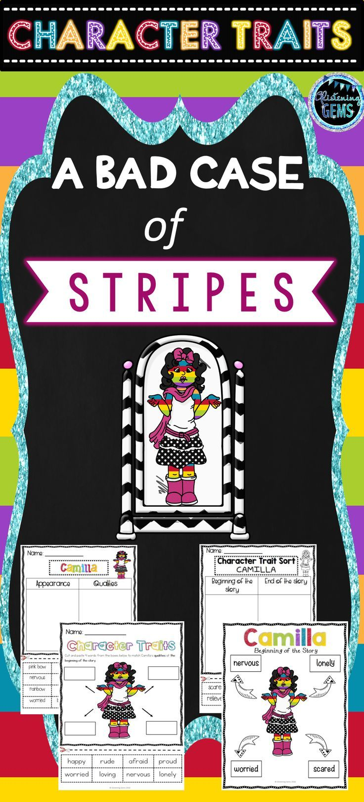 Bad case of stripes character traits activities no prep