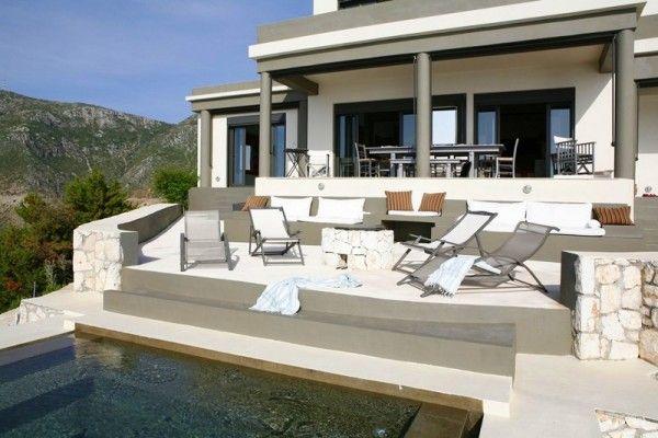 Villa Delphina Greece holiday home stunning Mediterranean view exterior design