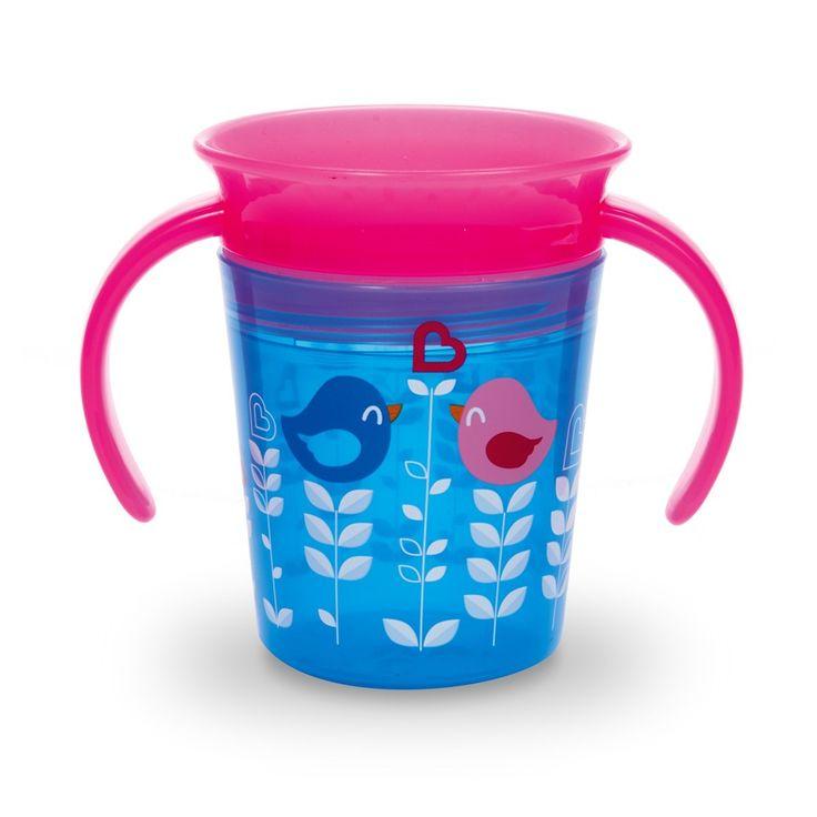 MUNCHKIN Μiracle Cup 360o Ασφαλές Ποτήρι Για Παιδιά Ηλικίας από 6m+ Μπλε - Ροζ 96ml