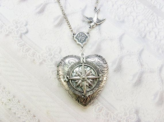 Silver Locket - coeur Locket - l