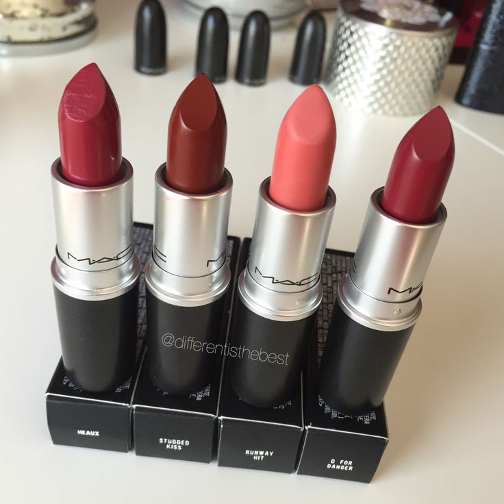 M•A•C lipsticks: heaux, studded kiss, runway hit, D for danger #differentisthebest