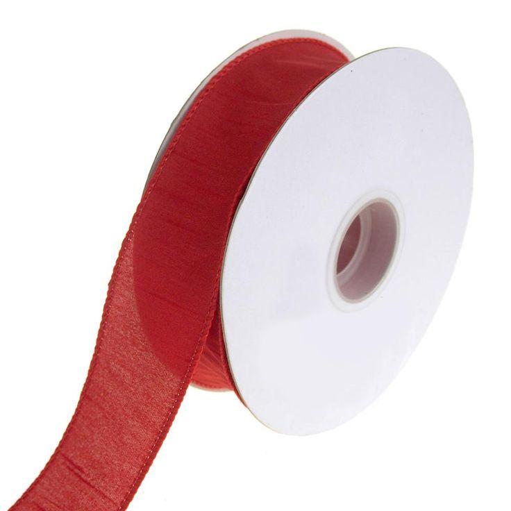 Dupioni Supreme Wired Edge Ribbon, Red, 1-1/2-Inch, 20