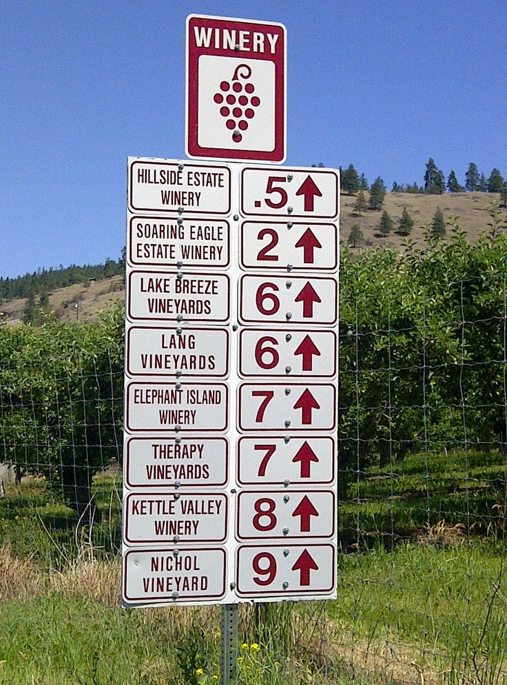Driving through the #Okanagan on one of many #Wine Routes, you'll see these signs to help guide you. We dare you to try not stopping at each one ;-)