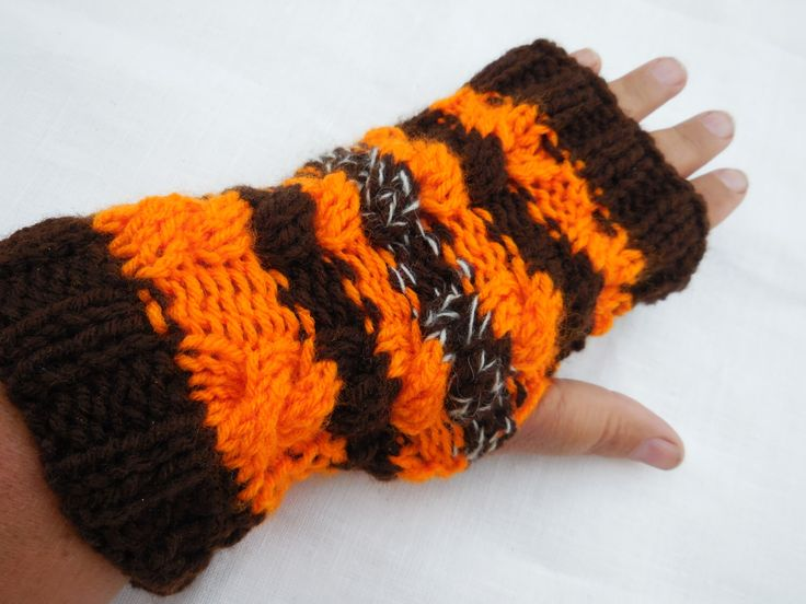 Excited to share the latest addition to my #etsy shop: 50%OFF, Halloween gloves, halloween fingerless, black orange gloves