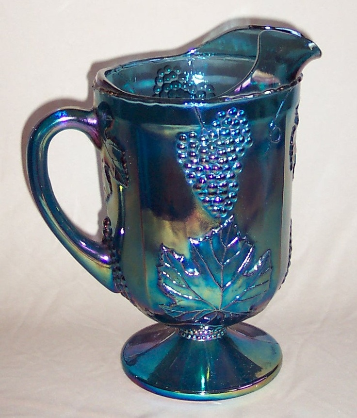 Carnival Glass Blue Harvest Pitcher from Indiana Glass