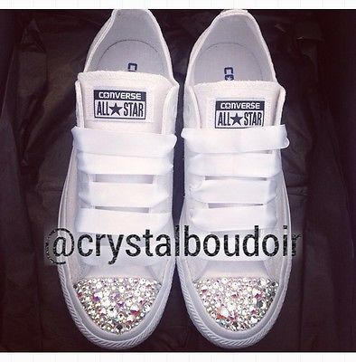 Custom/Personalised White Mono Crystal Bling Wedding Bride Bridesmaid Converse in Clothes, Shoes & Accessories, Women's Shoes, Trainers | eBay