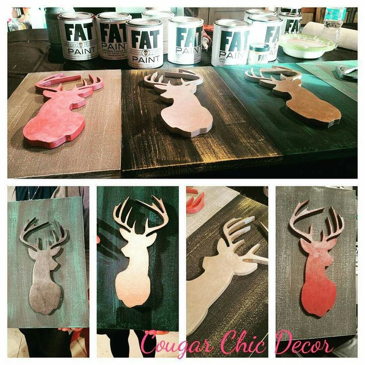 What an awesome Deer head workshop we had yesterday!! The color combos these ladies picked were stunning!! I love watching how they all paint the exact same thing but with their own creativity their projects turn out so different!  #workshops #cougarchicdecor #deerhead #barnwood #getcreative #FATpaintretailer #shoplocal #girlboss #girlsgetaway #homedecor www.albertadames.ca