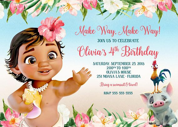 Baby Moana Invitation Birthday O