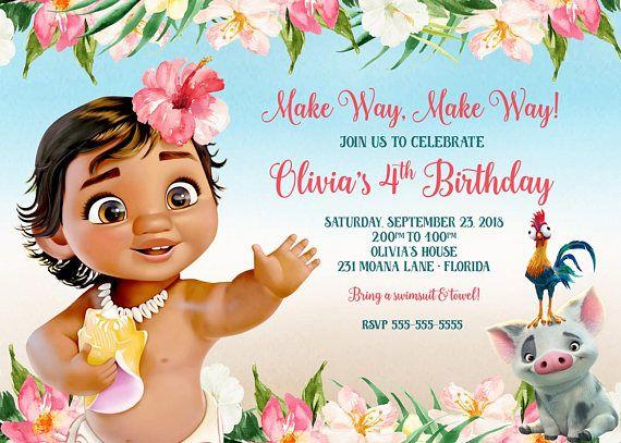 Baby Moana Invitation Birthday O