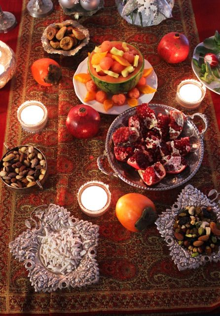"""Known as shab-e chelleh, Iran's winter solstice celebration, usually held on 21 December, marks the first of the 40 days before jashn-e sadeh. Of Babylonian origin, the celebration dates back to pre-Zoroastrian times and has to date remained an important feature of Iranian cultural tradition."" Iran: the Bradt Guide www.bradtguides.com"