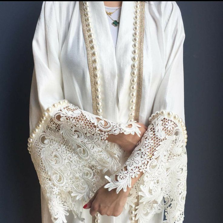 Limited edition White Silk Mix Abaya with French Lace & Pearls    Absolutely love love love this abay!!