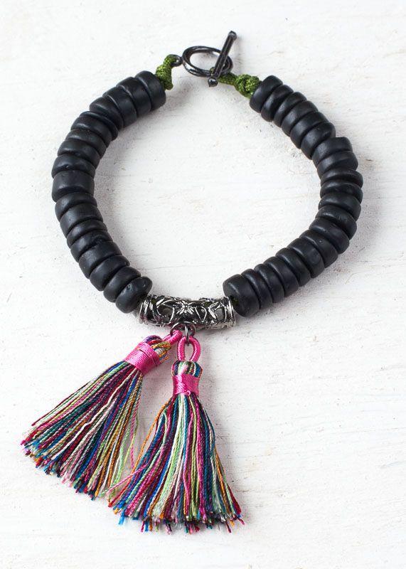 Black Obsidian Tassel Bracelet Cherry Tree Beads