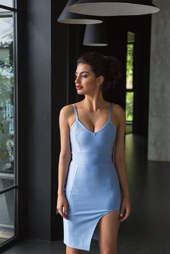Light Blue Slip Bandage Dress The Kewl Shop A Pretty Light Blue Slip Dress With Spaghetti Straps A Bandage Dress Blue Bandage Dress Light Blue Bodycon Dress