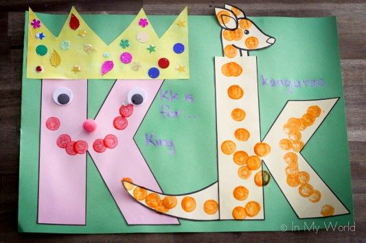 Letter K Alphabet craft - K is for King and k is for kangaroo. (Link to FREE upper and lower case letter templates)