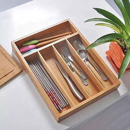 Ancona life Large Expandable Cutlery Tray & Drawer Organizer, Utensil Organizer 7 Compartments, 2 with Adjustable Dimensions, Beautiful and Durable Bamboo