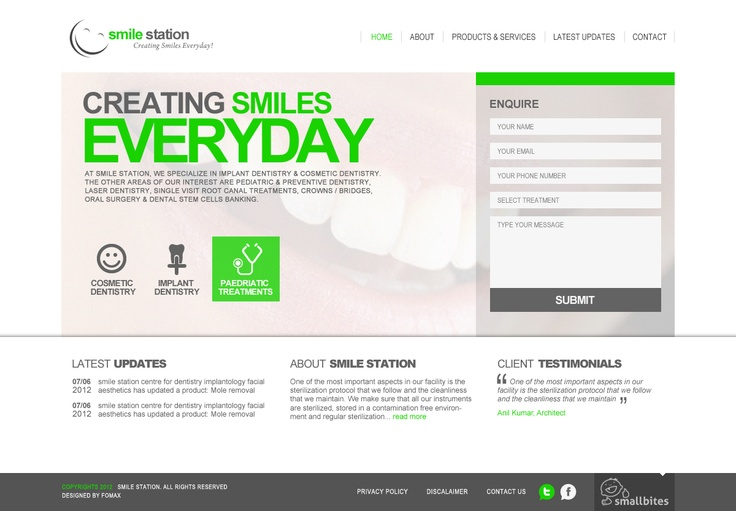 Smilestation website concept for Dental doctor in Indiranagar. The Doctor surprised by the creative design done by Fomaxtech team