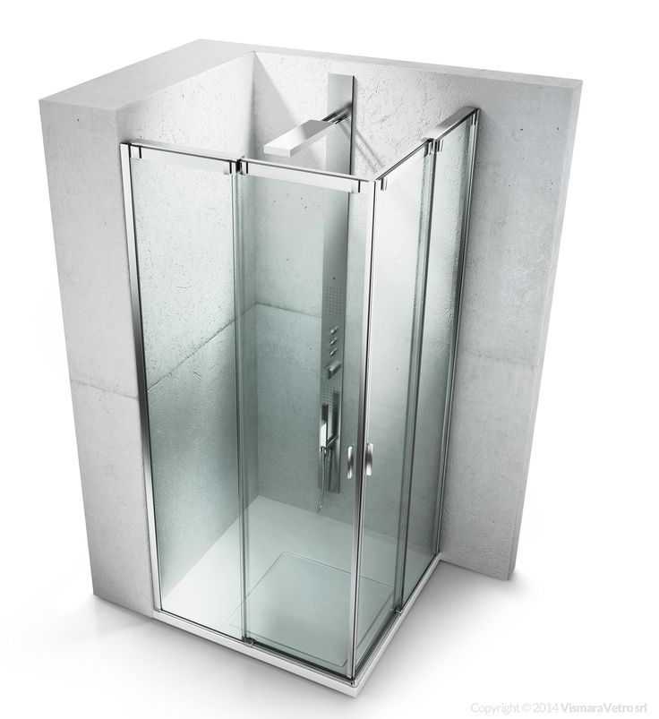 Shower enclosure with sliding door for corner shower trays. Shower enclosures Slide by @vismaravetro | VA+VA