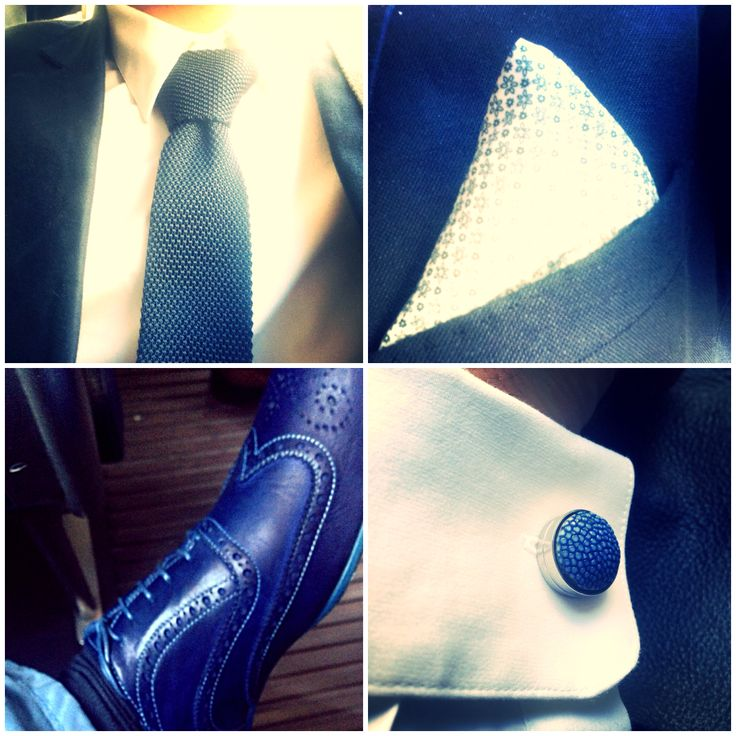 #blue #cufflinks #suit #stingrayleather #brogues #paulsmith #pocketsquare #knittedtie