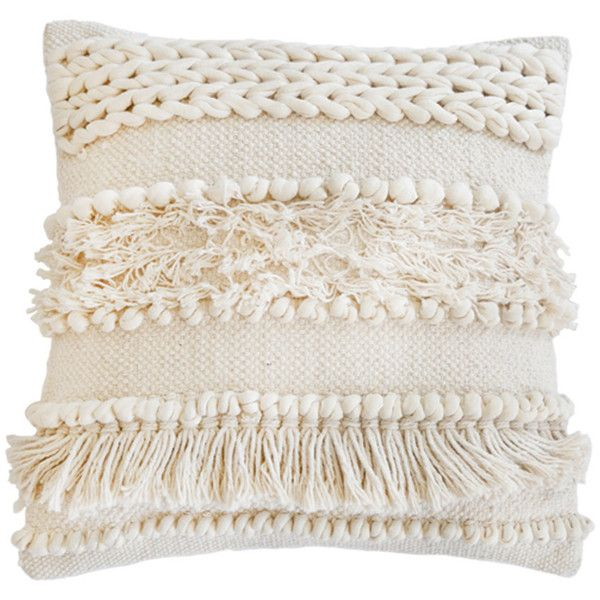Pom Pom at Home Iman Hand Woven Decorative Pillow (1,445 EGP) ❤ liked on Polyvore featuring home, home decor, throw pillows, pillows, cream throw pillows, tassel throw pillow, beige throw pillows, ivory throw pillows and handmade home decor
