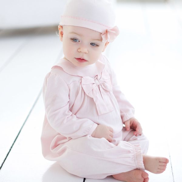 Beautiful luxurious cotton one piece and hat set for Spring, super sweet!