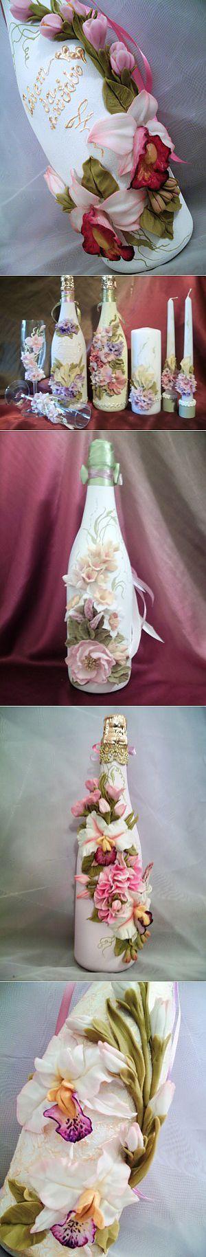 Декорирование бутылок цветами из холодного фарфора. + Рецепт массы для лепки.