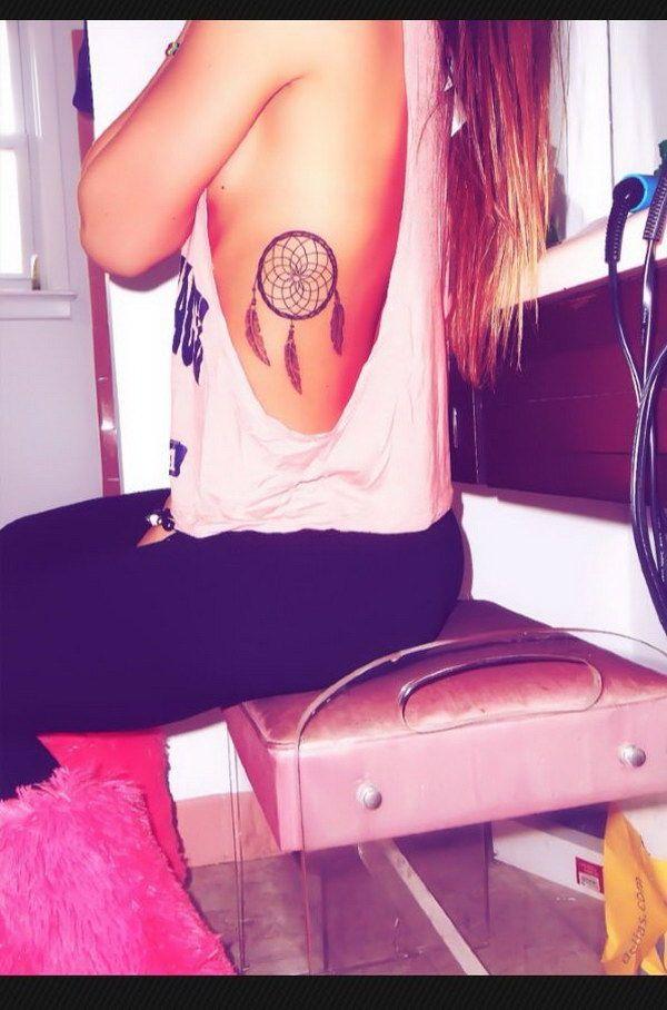 Dream Catcher Tattoo Design on Side.