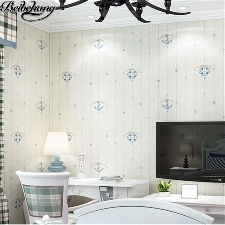 beibehang Mediterranean wallpaper nonwovens living room background wall vertical stripes english wind children bedroom wallpaper #Affiliate