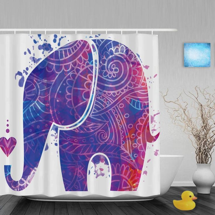 Euporean Pattern Decor Elephant Shower Cutains Animal Designed Bathroom Shower Curtains Polyester Waterproof Fabric With Hooks #Affiliate