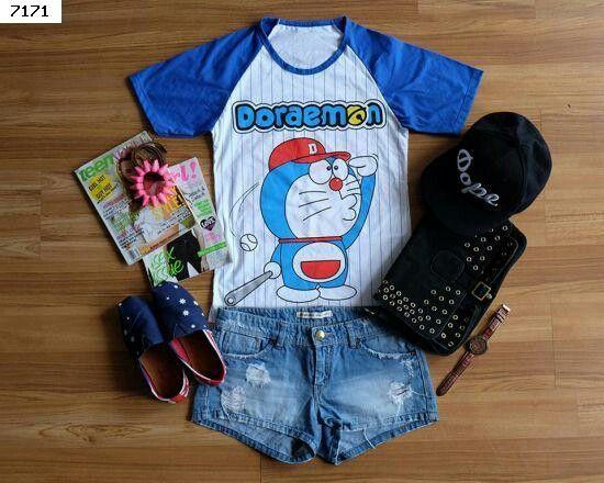 Kaos Doraemon Baseball @36ribu bahan kaos panjang 65cm, lingkar dada 80-94cm berat 116gr