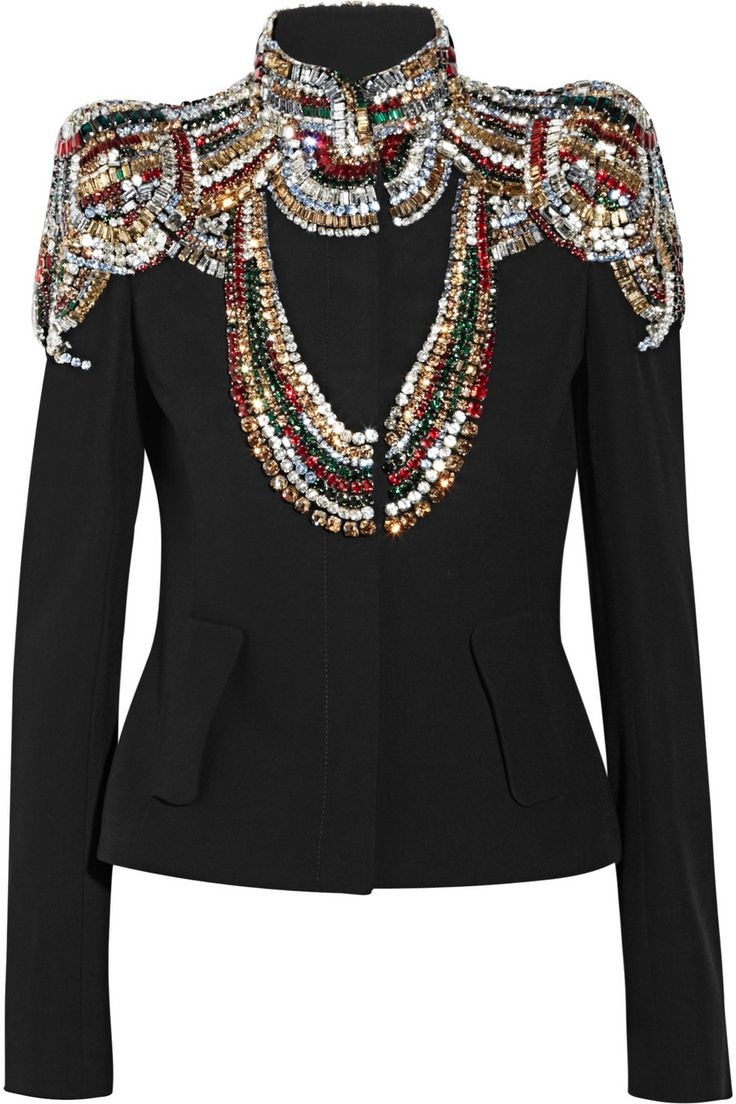 Alexander McQueenSwarovski crystal-embellished twill jacket