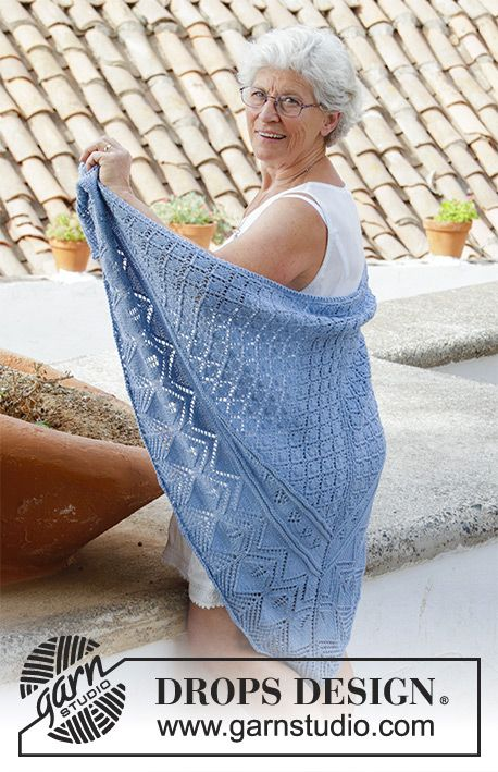 Aretusa / DROPS 186-19 - Knitted shawl with lace pattern. Piece is knitted top down in DROPS Merino Extra Fine.