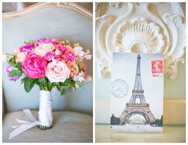 pink bouquet and Eiffel Tower incorporated!!
