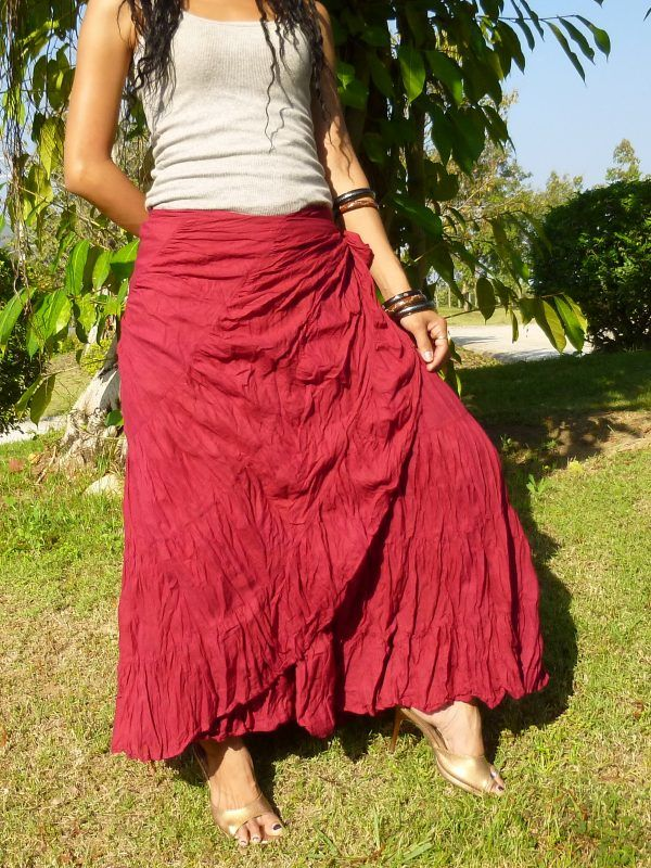 477dd324c9e Flamenco Skirt   Wrap Skirt   Handmade   100% Cotton   Free Shipping    SS-Bordeaux