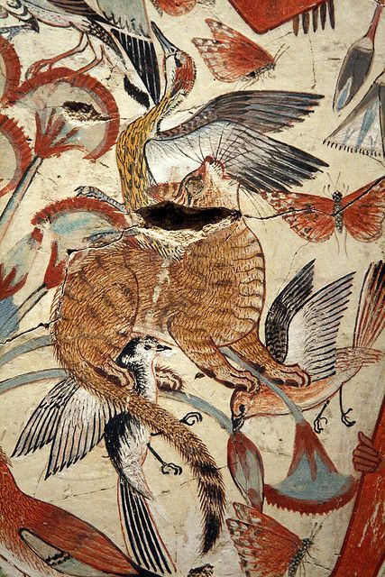 Egyptian cat hunting in the marshes from the tomb-chapel of Nebamun, Thebes, Egypt, late 18th dynasty, ca. 1350 BC. Depicts a tawny cat catching birds among the papyrus stems. The cats could represent the Sun god hunting the enemies of light and order | British Museum, Salt Collection https://m.flickr.com/#/photos/libyan_soup/3444368649/