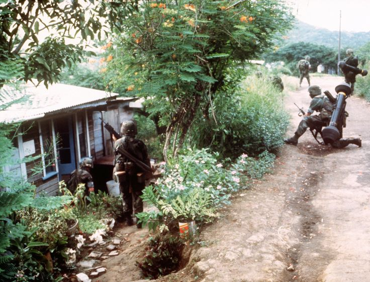 "U.S. Army soldiers of 1st Platoon A Co. 1st Bn ABN/508th Inf82d Airborne Division on patrol on Grenada during ""Operation Urgent Fury"" in October 1983 [30002290]"