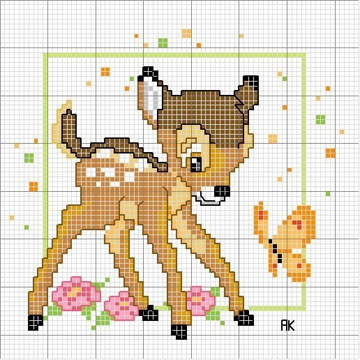Free Bambi Cross Stitch Chart or Hama Perler Bead Pattern