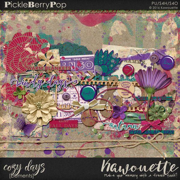 the kit COZY DAYS by Kawouette   Shop : https://www.pickleberrypop.com/shop/manufacturers.php?manufacturerid=172  Blog : http://toutunscrap.blogspot.fr/