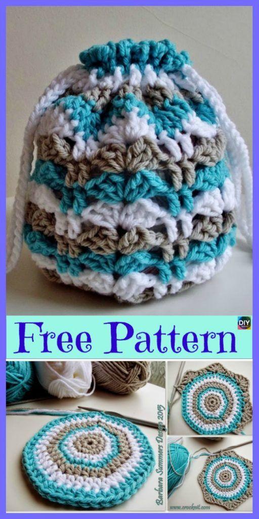 15 Crochet Drawstring Bag Padrões Livres