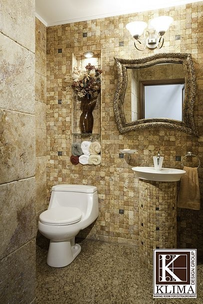 Modern Powder Room - tiled walls