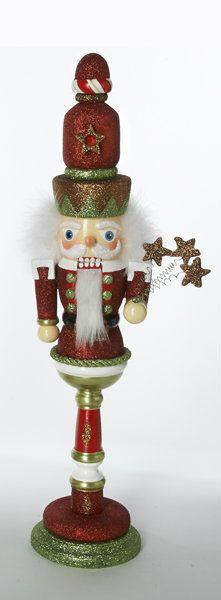 """KURT ADLER CHRISTMAS WOOD 18"""" RED AND GREEN NUTCRACKER HOLLY ADLER DESIGN"""