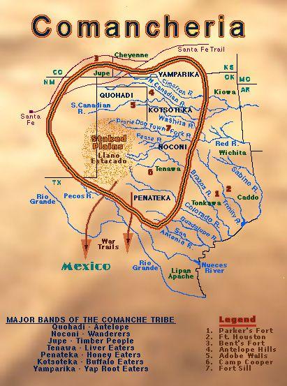 Mapa de La Comanchería, el extenso territorio en el que habitaban los comanches y en el que pocos se atrevían a entrar. /// Map of Comancheria, the vast territory inhabited by the Comanches and where few dared to enter.