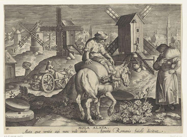 Philips Galle | Windmolen, Philips Galle, c. 1598 - c. 1593 | Een landschap met verschillende windmolens. Koren wordt in zakken naar de windmolen gebracht en daar tot meel verwerkt. Op de achtergrond een stad. De prent maakt deel uit van een negentiendelige serie over nieuwe uitvindingen en ontdekkingen.