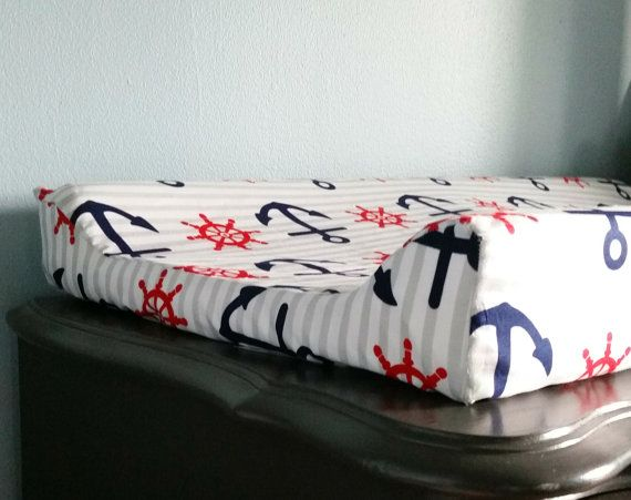 Red/ White & Navy Nautical Changing Pad by HappyNestByDieulove