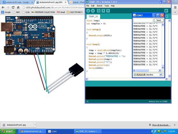 Picture of ARDUINO TEMPERATURE SENSOR LM35 - http://www.instructables.com/id/ARDUINO-TEMPERATURE-SENSOR-LM35/