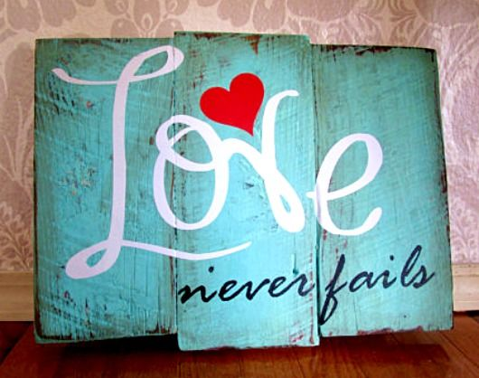 Love Never Fails Wall Art from Etsy