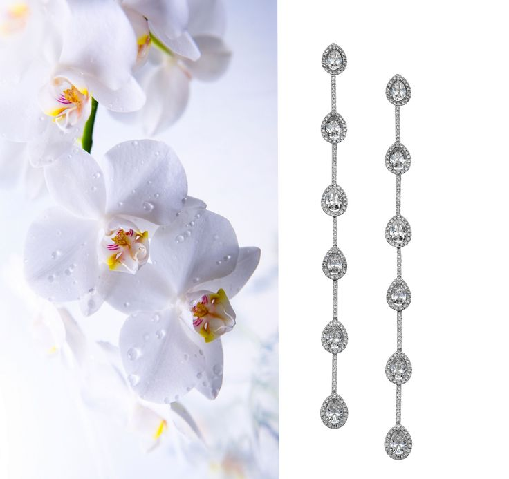 WEDDING EARRINGS ! An orchid symbolizes the enchantment of purity, beauty and strenght. All the elements of a true woman on her wedding day. #Orchid #DanelianDiamondClubEarrings #WeddingEarrings #WeddingDiamonds