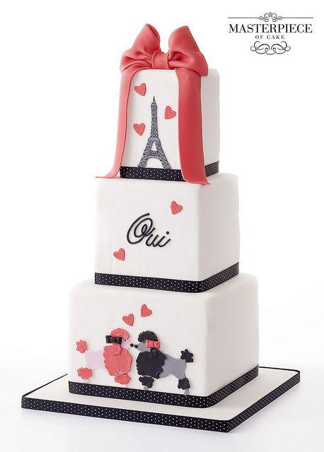 Paris Poodle Wedding Cake